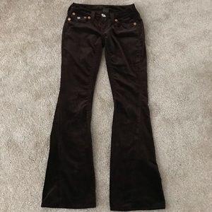 True Religion Brown Velvet Flare Leg Jeans Pants